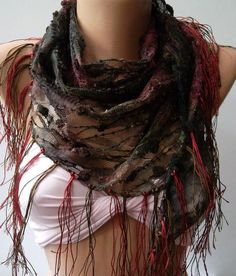 Burgundy  green  / Elegance Shawl / Scarf with Lace Edge by womann, $15.00