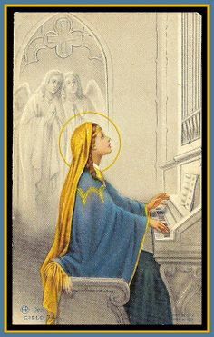 Saint Cecelia, patron saint of music.  Here, she plays the organ for her angel friends.