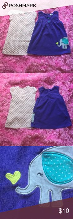 Two precious size 24months dresses! Purple sleeveless fleece dress features snaps at back of neckline and the cutest elephant patch that you've ever seen! Carter's brand; excellent condition! Pale heather pink dress features snaps at back of neck, medium-weight heather pink color with white accents throughout, short-sleeves, and diamond-weave texture. Koala Kids brand. Excellent condition except for one very light spot on lower back (doesn't even show up in pictures); barely noticeable! Both…