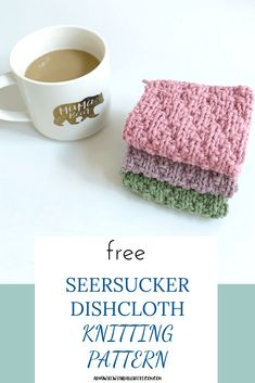 Seersucker dishcloth knitting pattern This free pattern knits up quick and easy knitting freeknitting pattern craft diy Knitted Washcloth Patterns, Knitted Washcloths, Dishcloth Knitting Patterns, Knit Dishcloth, Knitting Projects, Crochet Projects, Yarn Projects, Crafty Projects, Knitting Ideas
