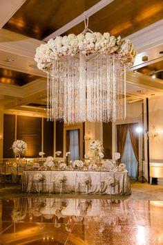 Rose Gold Wedding Reception at the Hotel Crescent Court Glitter Wedding, Gold Wedding, Wedding Reception Venues, Reception Party, Dance Floor Wedding, Floral Chandelier, Dallas Wedding, Bohemian Decor, Wedding Decorations