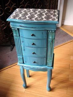 Hand Painted Beautiful X Large Grayish Blue Wooden Jewelry Box / Jewelry Armoire…