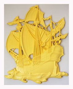Yellow Sail Away With Me Ship Wall Decor by PeaceandPoetry on Etsy, $80.00