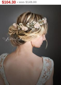 "This longer version of my top selling ""VALENTINA"" boho flower crown, hair vine is now available!Available in gold or silver tone, is a lovely finishing touch for the boho chic bride. Measuring 21"" (53cm) long, this full flower crown hair vine features 6 fabric flowers set on a beaded wire with 10 pearl encrusted metal flowers. Choose your color for the flowers shown in the last photo.This is the longest hair vine available in my shop.First two photos show 'Sheer Blush'..."