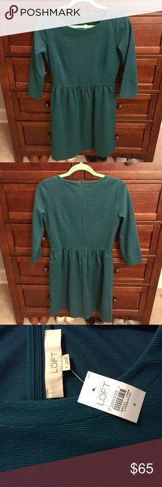 Turquoise Loft Dress NWT Turquoise colored 3/4 sleeve business dress from Loft. Great to be dressed up or down! LOFT Dresses