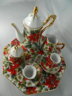 red mini tea set   ... Miniature Tea Set Red and White Poinsettia Miniature Christmas Tea Set