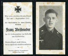 orig. WK2 STERBEBILD - DEATH CARD - PANZER DIV. - TK UNIFORM - OSTFRONT 1941
