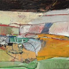 "Richard Diebenkorn - 'Berkeley Series' #39 1955 ("" Berkeley #23 and #39 have an increased variety of colour and calligraphic vitality. The grid-like sections of heavily stroked paint are separated by fragments of line drawing, giving the effect of an aerial landscape ending in a narrow strip of sky. Some of the last paintings in the series return to the desert landscape colours arranged in a more ordered formality."" Poul Webb)"