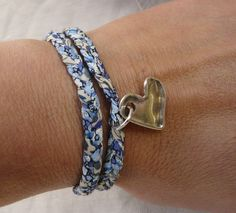 Blue flower Liberty print double wrap bracelet with heart charm by NokoDesigns