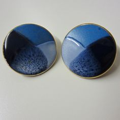 Vintage 1980 Blue Ombre Ceramic Earrings Hand by BranchOutShop