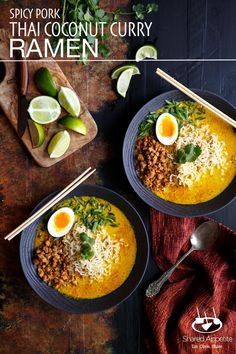 Spicy Pork Thai Coconut Curry Ramen | sharedappetite.com  Inspired by the northern Thailand dish Khao Soi, this ramen soup is packed with flavor and is topped with spicy ground pork, a soft boiled egg, and scallions.  Finish the perfect presentation with these beautiful bowls from @revolusa!   #revolUSA #revol_usa #sponsored. You can find Revol products here: http://www.revol1768.com/