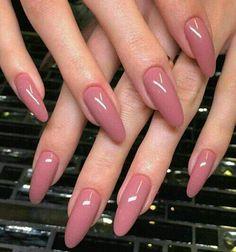 Dusty rose nail color, nails, summer nails, pink nails, dusty pink nails - Check more at Almond Shape Nails, Almond Acrylic Nails, Nails Shape, Long Almond Nails, Dusty Pink Nails, Dark Pink Nails, Nail Pink, Mauve Nails, Black Nails