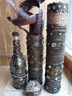 Декор предметов Декупаж Коллаж Железные вазы  бутылки и стиральная машина в хрущовской ванной фото 1