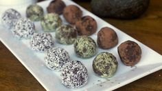 Page: - Avocado chocolate truffles are another vegan fail safe. As well as being totally animal friendly, these truffles are also a lot better for you than the normal kind and are make. Paleo Sweets, Paleo Dessert, Dessert Recipes, Healthier Desserts, Vegan Desserts, Yummy Recipes, Vegetarian Recipes, Snack Recipes, Healthy Recipes