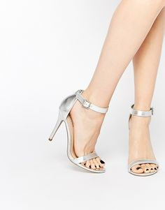 90bc35d17777 Shop Call It Spring Jechta Silver Heeled Barely There Sandals at ASOS.