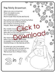 The Trinity Snowman - cute poem to explain how a snowman shows us how God is 3 persons in 1 Sunday School Activities, Church Activities, Sunday School Lessons, Sunday School Crafts, Catholic Crafts, Church Crafts, Christmas Program, Christmas Games, Christmas Riddles