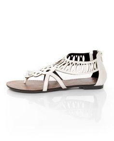 GoMax Berdine 41 White Cutout Cage Thong Sandals