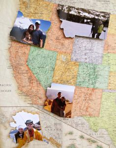 DIY Travel Photo Map - Such a fun idea for the family that loves to travel and a great way to show off all of your photos! So fun!