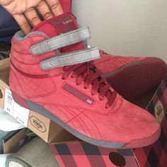 afc6e3a3d87ff Suede Reebok Classic Freestyles Maroon and grey classic Reebok Freestyle.  These on-trend hi
