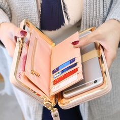 Günstige Geldbörse brieftasche weibliche berühmte marke kartenhalter handytasche geschenke für frauen geld tasche kupplung, Kaufe Qualität Brieftaschen direkt vom China-Lieferanten: GRÖßE: L18cm W2.7cm H10cm diese geldbörse ist fit für Iphone6 plus oder die kleinere größe als Iphone6 plus. Wenn sie i