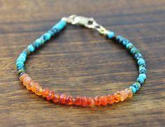 Turquiose Carnelian Gemstone Bracelet, Fall Autumn Boho, Orange Blue Stone Beads, 14k Gold Fill Clasp