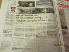 A Voz de Galicia. Domingo 1 de marzo. La Plataforma dice que el proyecto contiene falsedades.