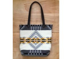 Tote - Pendleton Wool Fabric - Leather Canvas Arrow Native Geometric Tribal