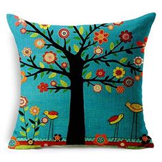 """Ambox Beige Cotton Blend Linen Square Decorative Throw Pillow Covers - Indoors or Outdoors Cushion Cases, 18"""" x 18"""", Beige/White/Black (Black Large Tree and Flower Birds)"""