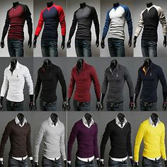 2013 Fashion Mens Casual Long Sleeve Polo Sport Shirts Tee Tops