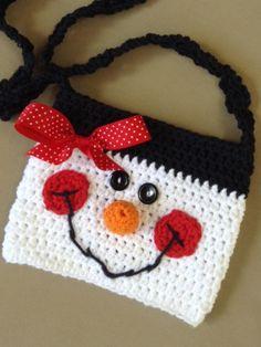 Oh so Cute Cotton Crochet girls snowman purse by sweetandhandmade
