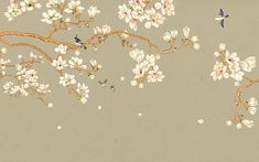 Chinoiserie Hanging Magnolia Tree Wallpaper, Handpainted Brushwork Flying Birds and Magnolia Flowers Wall Murals for Living or Dinning Room Tree Wallpaper, Custom Wallpaper, Photo Wallpaper, Asian Wallpaper, Magnolia Trees, Magnolia Flower, Chinoiserie, Magnolia Wallpaper, Scenery Background