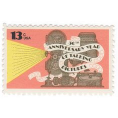 """Qty of 10 - Unused - Vintage Postage Stamp """"Anniversary of Talking Pictures""""  - No. 1727"""