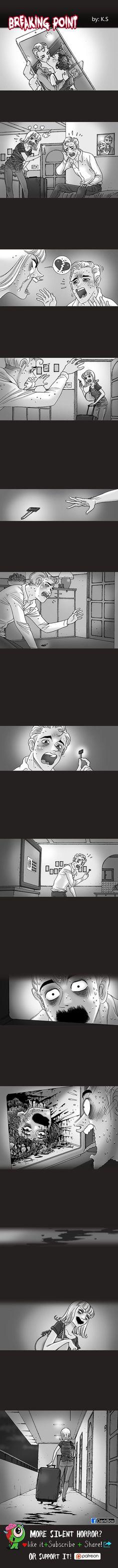 Dark Box is creating Silent Horror Silent Horror Comics, Scary Comics, Funny Comics, Short Horror Stories, Creepy Stories, Creepypasta, Rage Comic, Horror Art, Weird
