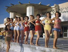 The Sarasota Sun Debs, training at Lido Beach for photo shoots and modeling sessions. (1949. Florida Memory Collection)