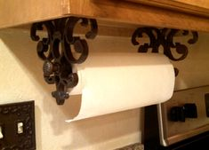 Quick Change Paper Towel Holder Wrought Iron Detail Tuscan Vintage Old  World Under Cabinet Kitchen