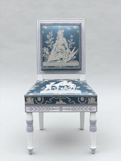 Chaise du salon des Glaces, Jacob-Desmalter, c. 1805, ivoire, ébène, buis, bois précieux divers (Musée national des châteaux de Versailles et de Trianon)
