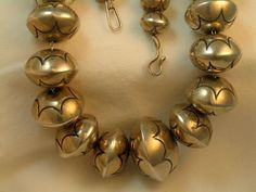 Dead Pawn Sterling Silver Navajo Hollow Bench Bead Necklace