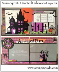 This is my CTMH Scaredy Cat Scrapbooking Kit I created in 2015. Instructions are also available on my blog. #Scrapbooking #CTMH #Halloween www.stampinbuds.com
