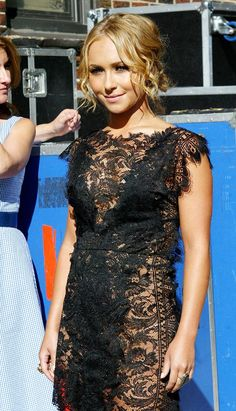 Hayden Panettiere black lace dress