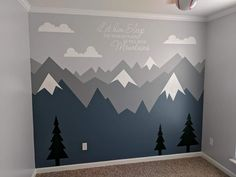 Baby Boy Room Decor, Baby Room Design, Baby Bedroom, Baby Boy Rooms, Nursery Room, Kids Bedroom, Kids Rooms, Mountain Mural, Big Boy Bedrooms