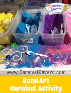 Sand Art - easy setup - kids carnival activity for school or fundraising carniv. Sand Art - easy setup - kids carnival activity for school or fundraising carnivals! Carnival Activities, Carnival Crafts, Kids Carnival, Spring Carnival, Carnival Birthday Parties, Carnival Themes, Halloween Carnival, Backyard Carnival, Carnival Games For Kids