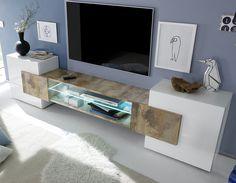 Meuble TV moderne laqué blanc et effet bois TRIVIA 2
