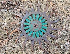 "Antique Vintage Metal 20"" JD Green Rotary Hoe Wheel Industrial Gear Old Farm!"