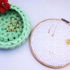 The Cutest green crochet storage basket Hair accessories organizer