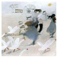 Geese are terrifying when on the attack, and this image by Laura Carlin, captures the need to escape them beautifully. | the art room plant