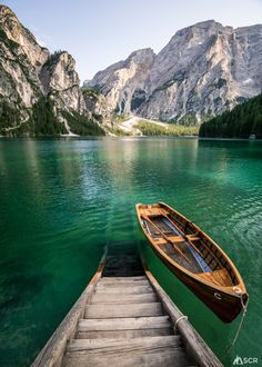 Lago di Braies, by in the Dolomites of northern Italy.