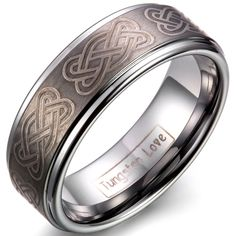 JewelryWe Unisex Mens Tungsten Carbide Infinity Celtic Knot Engraved Comfort Fit Ring Band 8mm (11)