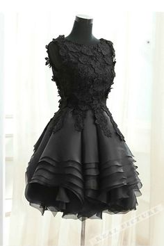 9855635d42 Black tulle lace round neck short prom dress