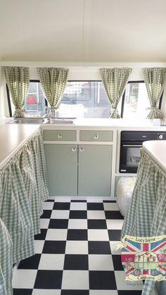 Vintage Caravan Bespoke built soft catering interior................. Like floor and window curtains