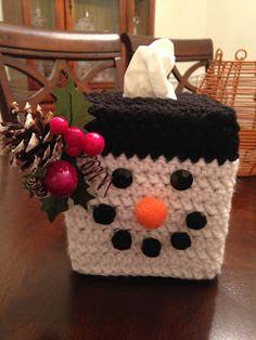 Crochet Tissue Box Cover - Snowman.  Seasonal. Holiday.  Christmas Decor...  (The Perfect Stitch...: Crochet Snowman Tissue Box Cover...)